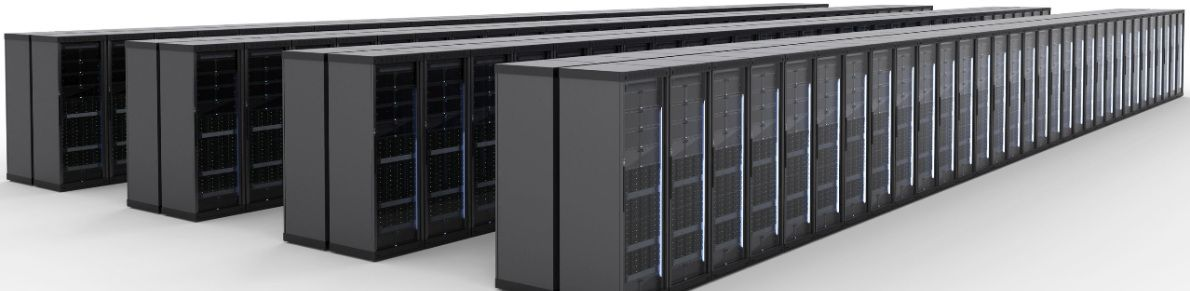 Picture of server cabinets in four rows – data centre