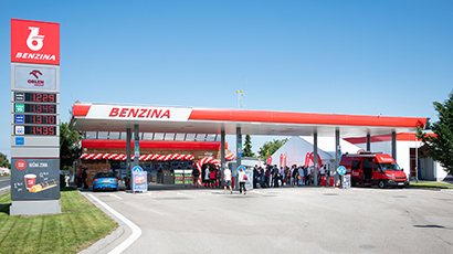 Benzina fuel station red and white logo